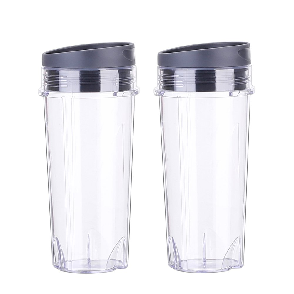 aokur Pack of 2 16oz Cup with Lid Replacement Parts for Nutri Ninja BL660 BL663 BL770 BL780 BL810 BL820 BL830