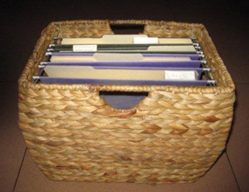 Pangaea Rattan Natural File Basket with Liner (File Hanging Basket Wicker)