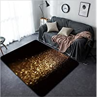 Vanfan Design Home Decorative 338675015 glitter vintage lights background dark gold and black defocused Modern Non-Slip Doormats Carpet for Living Dining Room Bedroom Hallway Office Easy Clean Footc