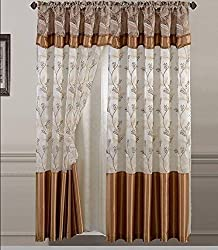 Golden Linens One Piece Embroidery Window Curtains/ drape/ panel/ treatment with Attached Valance And Liner Backing