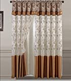 Golden Linens One Piece Embroidery Window Curtains/drape/panel/treatment with Attached Valance And Liner Backing Gold