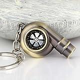 MAZIMARK--Real Whistle Sound Turbo Keychain Spinning Turbine Key Chain Ring Keyring Keyfob (BRONZE)