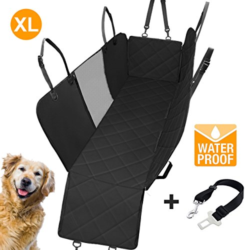 Adorabae XL Dog Car Back Seat Cover Extra Large Hammock Waterproof Scratch Proof with Viewing Window for Minivans SUVs and Full Size Trucks