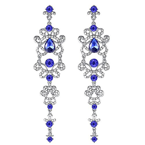 Long Teardrop Chandelier Earrings - mecresh Bridal Blue Long Teardrop Chandelier Earrings,Linked Earrings for Women Brides Bridesmaids ...