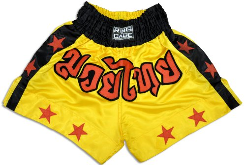 Rings Thai - Ring to Cage Muay Thai Shorts-Yellow/Stars (XX-Small (Kids))