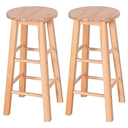 Charmant GentleShower 29u0026quot; Barstool High Stool Pine Round Bar Stools Wood Seat  Bar Chair, Set
