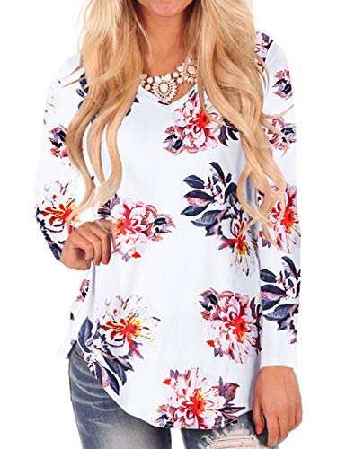 Women's Casual Long Sleeve Floral V-Neck T-Shirt Tops L