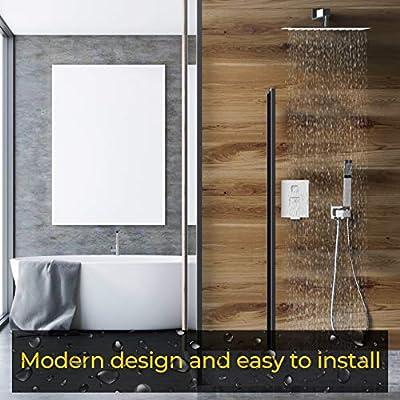 SanitaryMAX sistema de ducha, cromo juego de grifo de ducha completo para cuarto de baño, ducha de pared Combo – 12 pulgadas lluvia alcachofa, manguera más larga, valla (cuerpo y borde), todo