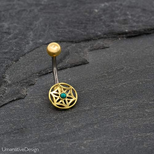 Unique Flower Of Life Belly Button Ring, Gold Brass & Surgical Steel & 22K gold Tribal Geometric Belly Bar, Turquoise Gemstone, 14g, Handmade Navel Piercing Jewelry ()
