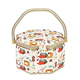 Sewing Basket Organizer Fabric Craft Sewing Kit Storage Box with Handle Wooden Sewing Basket Kit with Removable Tray and Pin Cushion for Adults and Kids(2)