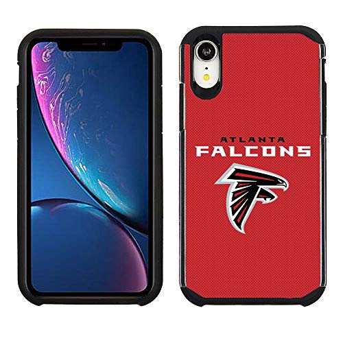 Prime Brands Group Cell Phone Case for Apple iPhone XR - NFL Licensed Atlanta Falcons - Red Textured Back Cover on Black TPU Skin ()