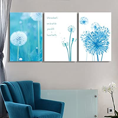 Charming Piece, With a Professional Touch, 3 Panel Dandelions with Inspirational Quotes x 3 Panels
