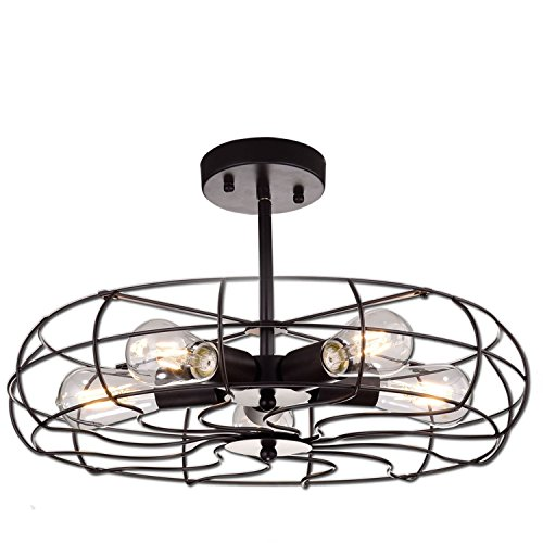 YOBO Lighting Oil Rubbed Bronze Vintage Barn Metal Ceiling Chandelier, 5 Light Close to Ceiling Semi Flush Mount Light For Sale