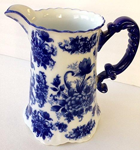 Blue Floral Porcelain Fluted Pitcher