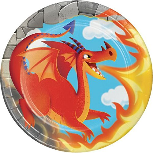 Creative Converting DRAGON Cake/Dessert Plates Party Supplies, Multicolor, 8 Plates (Pack of 1)