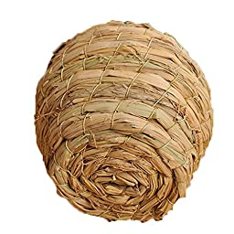 Woven Straw Bird Nest Cage for Parrot Budgies Cockatiels House Hatching Breeding Cave,Also For Rat Gerbil Mice Bed House