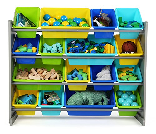 51XPY6ylr L - Tot Tutors WO498 Elements Collection Wood Toy Storage Organizer, X-Large, Grey/Blue/Green/Yellow