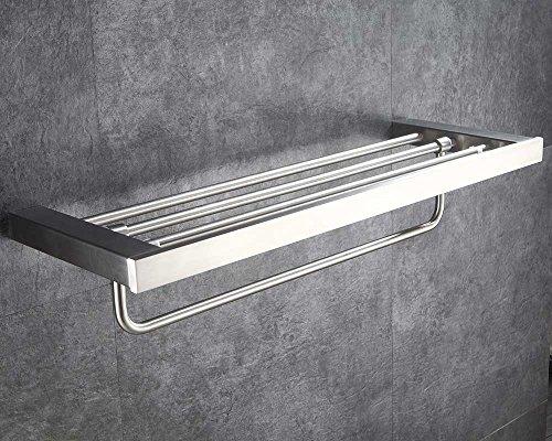 Mellewell Towel Rack Bathroom Shelves with Swing Towel Bar Contemporary Style, Stainless Steel Brushed Nickel, 06A12 - Nickel Satin Toilet Brush
