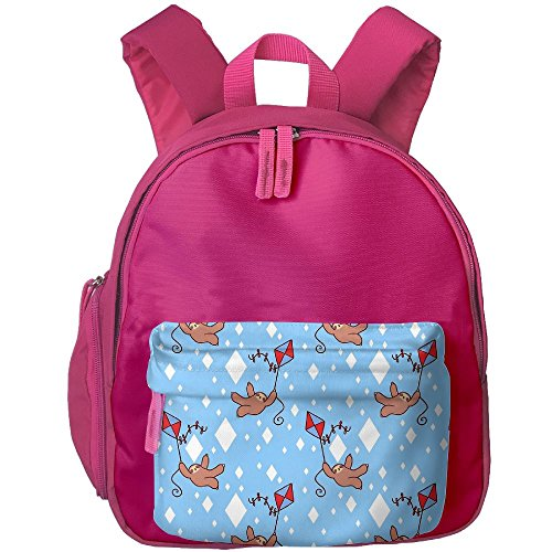 HZamora_DM Kid's Diamond Kite Sloth Pattern Oxford School Bag Backpacks Bookbag Lunch Bag Side Pocket Pink