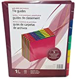 OfficeMax (TM) Polypropylene Daily and Numeric File Guides,1-31, 5 Pre-Printed Tab Positions, Assorted Colors