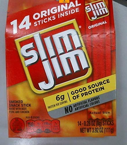Slim Jim Snack-Sized Smoked Meat Stick, Original Flavor, .28 Oz. 14-Count