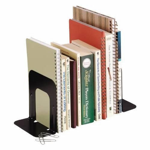 STEELMASTER Deluxe Steel Bookends, 5 Inch Backs, 1 Pair, 4.69 x 5 x 5.25 Inches, Black (241005104) by Major Metalfab Co.