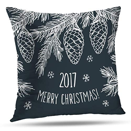 Geericy Christmas Decorative Throw Pillow Covers, Happy New Year Merry Christmas Greeting Cushion Cover 18 x 18 Inch for Bedroom Sofa]()