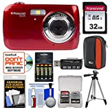 Polaroid iS126 16.1MP Digital Camera (Red) with 32GB Card + Case + Batteries & Charger + Tripod + Kit