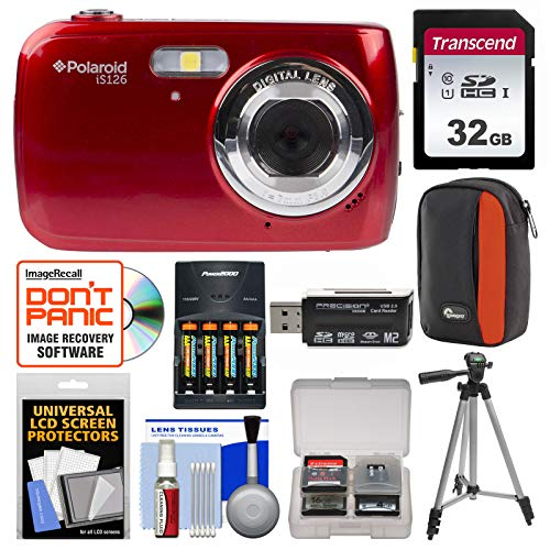 Polaroid iS126 16.1MP Digital Camera (Red) with 32GB Card + Case + Batteries & Charger + Tripod + Kit by Polaroid (Image #9)