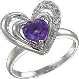 Vir Jewels, Bague Femme Argent fin 925/1000 Violet Amethyste 1 Karat