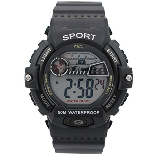 Montres Carlo LCD Mens Digital Electronic Sport Watches Stopwatch Night Light 50 M Waterproof Water Resistant Black Watch