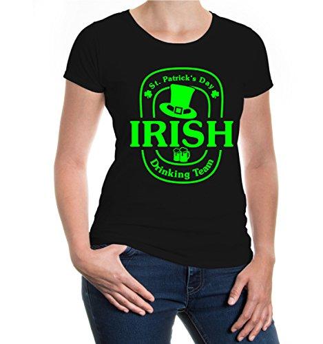 Girlie T-Shirt Irish Drinking Team V2 Black