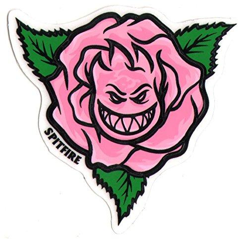 (Spitfire Wheels Bighead Rose Pink Skateboard Sticker. 6.5cm wide approx. Clear background. skate snow surf board bmx guitar)