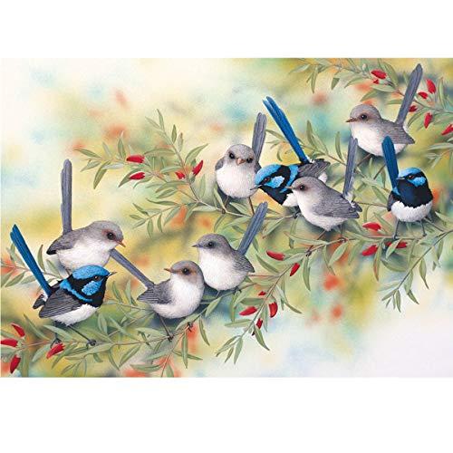 TWBB DIY 5D Diamond Painting Kit Diamond Sticker Stitch Painting Sets Full Drill Diamond Painting,Bird and Flower Pattern Diamond Painting for Adult or Kid,35x45 cm (Style 6)