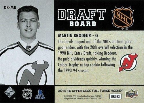 2015 16 Upper Deck Full Force Draft Board Dbmb Martin Brodeur At