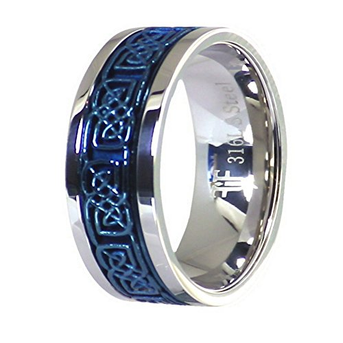 Fantasy Forge Jewelry Electric Blue Celtic Spinner Ring Stainless Steel 8mm Comfort Fit Band Size 6.5