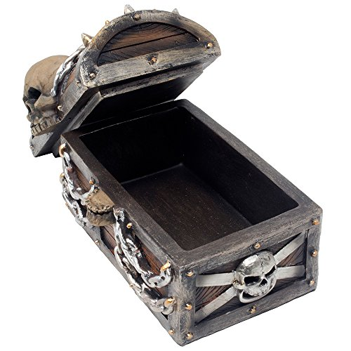 Evil Skull on Treasure Chest Trinket Box Statue with Hidden Storage Compartment for Decorative Gothic Décor or Spooky Halloween Decorations As Jewelry Boxes or Fantasy Office Gifts