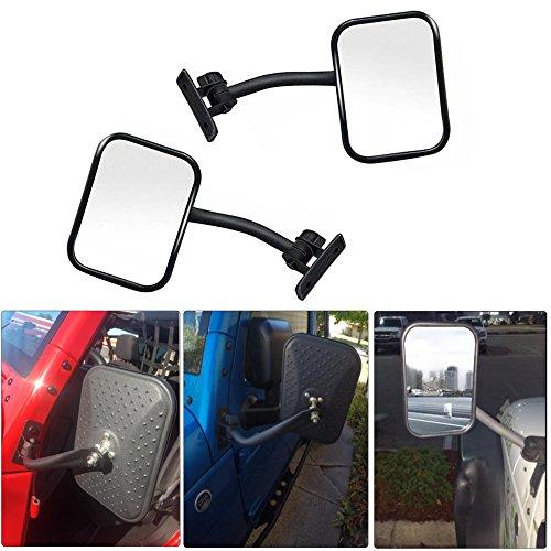 AVOMAR 2Pcs Rectangular Side View Door Mirror Off-Road Side Mirror with Adjustable Arms Fit 1997-2017 Jeep Wrangler TJ JK - Arm Mirror Door