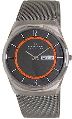 Skagen Men's Melbye Quartz Titanium and Stainless Steel Mesh Casual Watch, Color: Grey (Model: SKW6007) ()