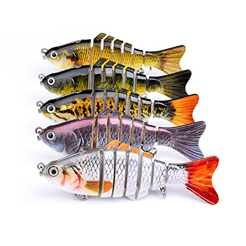 PUSTOR Segment Swimbait Crankbait Fishing Lures Hard Baits Lifelike for Pike Perch Trout 10cm/4