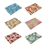 HACASO Ocean Creatures Pattern Cotton Linen Placemats Set of 6 Kitchen Dining Table Mats(1)