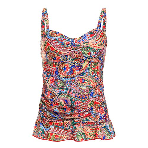 DAYU Women's 50's Retro Printed Ruched Tankini Swimsuit Top with Ruffle Hem, Size 10