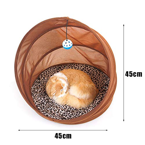 Bestdoll Collapsible Pet Tunnel Cat Bed Winter Warm Cat Kennel Cave with Toy Ball