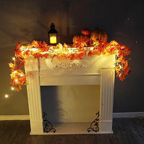 (Auwer 1.7M LED Lighted Fall Garland,Pumpkin Maple Leaves Garland with Pumpkins Fall Decoration Seasonal Lights for Party Halloween Thanksgiving Christmas Indoor Outdoor Birthday Gift)
