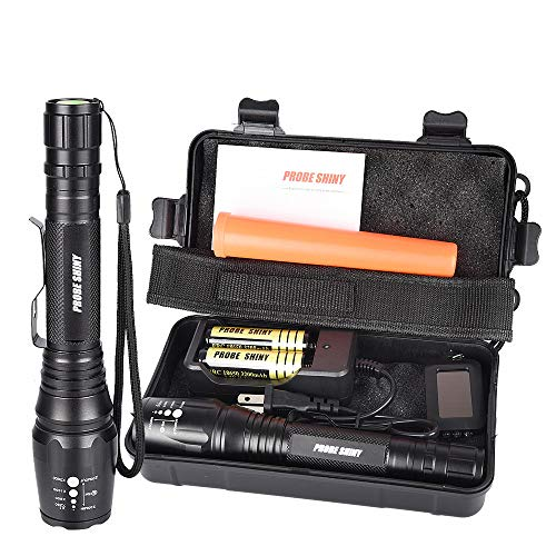 Autoday Max 1000 Lumens Handheld Flashlight Probe Shiny XML T6 Tactical Zoomable Torch Light Powered by 2x 18650 Batteries (included, also with batteries charger)