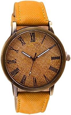 Toamen Unisexo Reloj De Pulsera Retro De Vaquero Reloj De Pulsera De Cuarzo  AnalóGico De Cuero De Vaquero (F)  Amazon.es  Deportes y aire libre 476f137cf9cd
