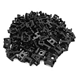 uxcell 120pcs Black Plastic 9mm Width Saddle Type Wire Cable Tie Screw Mount Holder