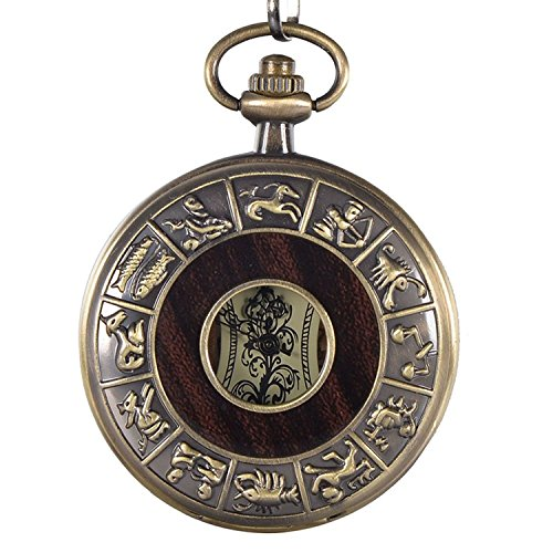 Carrie Hughes Vintage 12 constellations Steampunk Skeleton Mechanical Pocket watch with Chain - Constellation Hughes