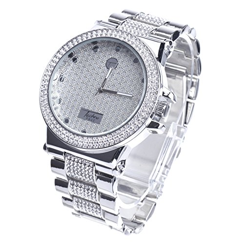 XL Rapper Lab Diamond Hip Hop Luxury Bling Silver Plated Metal Band Watches WM 8306 S by Techno Pave