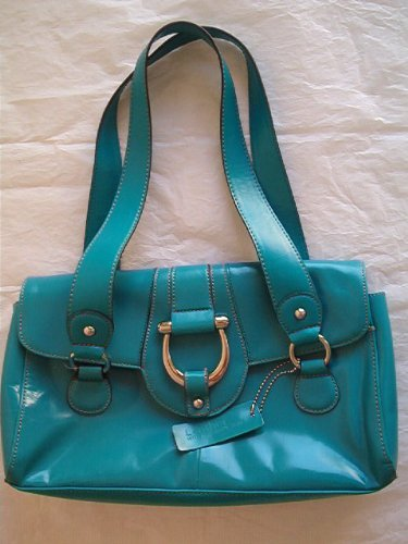 Apt. 9 Flap-Over Rossi Leather Satchel, Turquoise